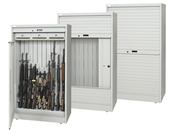 Reconfigurable weapon storage cabinets