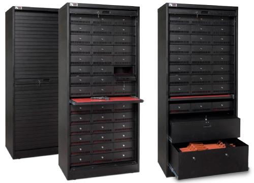 Black weapon storage cabinets